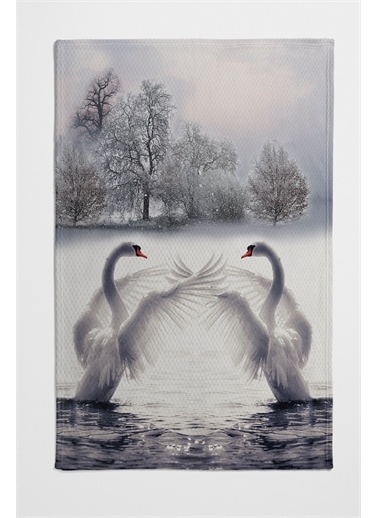 Else Halı Beyaz Kuğular Desenli Yatak Örtüsü Tek Kişilik Pike Takımı Renkli
